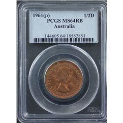 1961 Half Penny PCGS MS64 RB