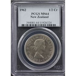 1962 New Zealand ½ Crown PCGS MS64