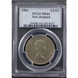 1963 New Zealand ½ Crown PCGS MS64