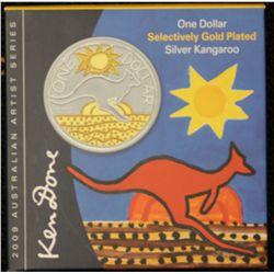 2009 Selective Gold Plated $1 Kangaroo, Ken Done