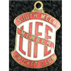 South Melbourne Cricket Club Life Membership Medallion 1930's