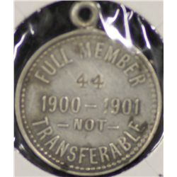 S.A.C.A (Adelaide Oval) Membership Medallion 1900/1901.