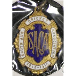 S.A.C.A (Adelaide Oval) Membership Medallion 1915/1916.