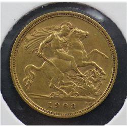 Australia Half Sovereign 1908 Sydney, VF 30