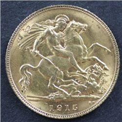 Australia Half Sovereign 1915 Perth, Nearly Uncirculated And Scarce