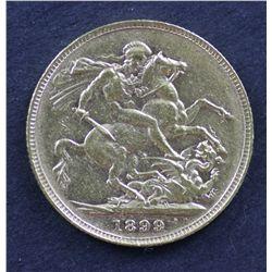 Australia Sovereign 1899 Perth, Very Fine scarce date