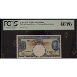 Malaya 1945 $1 Dollar Consecutive Pair
