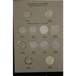 Nice set of Australian Florins (7.40 FV Pre) (3.60 FV Post) includes 1932