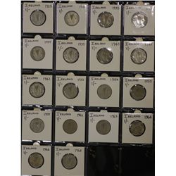 Collection of Irish Shillings 1928 to 1968 VF to Unc
