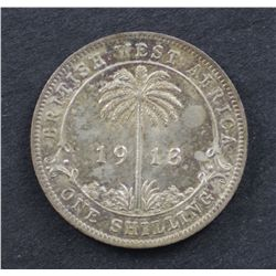 British West Africa Shilling 1913 Uncirculated, Obverse cleaned