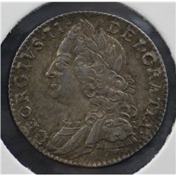 GB 1757 Sixpence Nearly Uncirculated