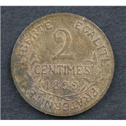 France 2c 1899 Uncirculated, 2 Franc 1916 Unc, 5 Franc 1848 g VF