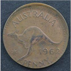 Australia Halfpenny Misstrike 1947 VF, Penny 1962 Uncirculated