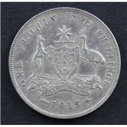 1915 Florin , Nearly Very Fine and the key date