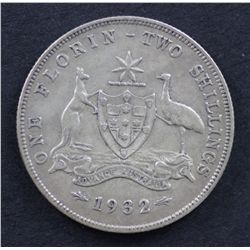 Australia 1932 Florin Very Good to Good Fine, Nicely above average