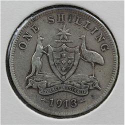1913 Shilling Good Fine