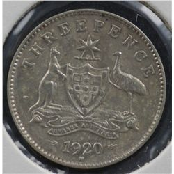 Threepences 1920, 1921 Plain VF