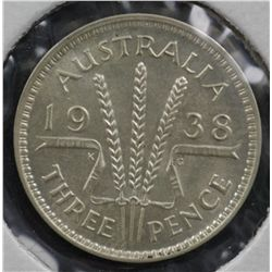 Threepences 1938 EF, 1939 aUnc, 1940 Unc, 1941 aUnc, 1942 m VF