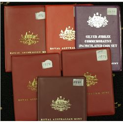 Australia Mint Sets 1975, 1976, 1977, 1978, 1979, 1980, as Issued