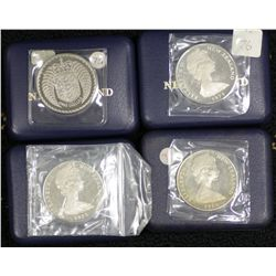 NZ Proof Dollars in boxes of issue 1973, 1975 (2), 1976