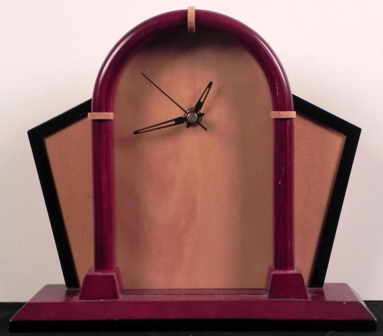 Art Deco Style Wooden Mantle Desk Clock