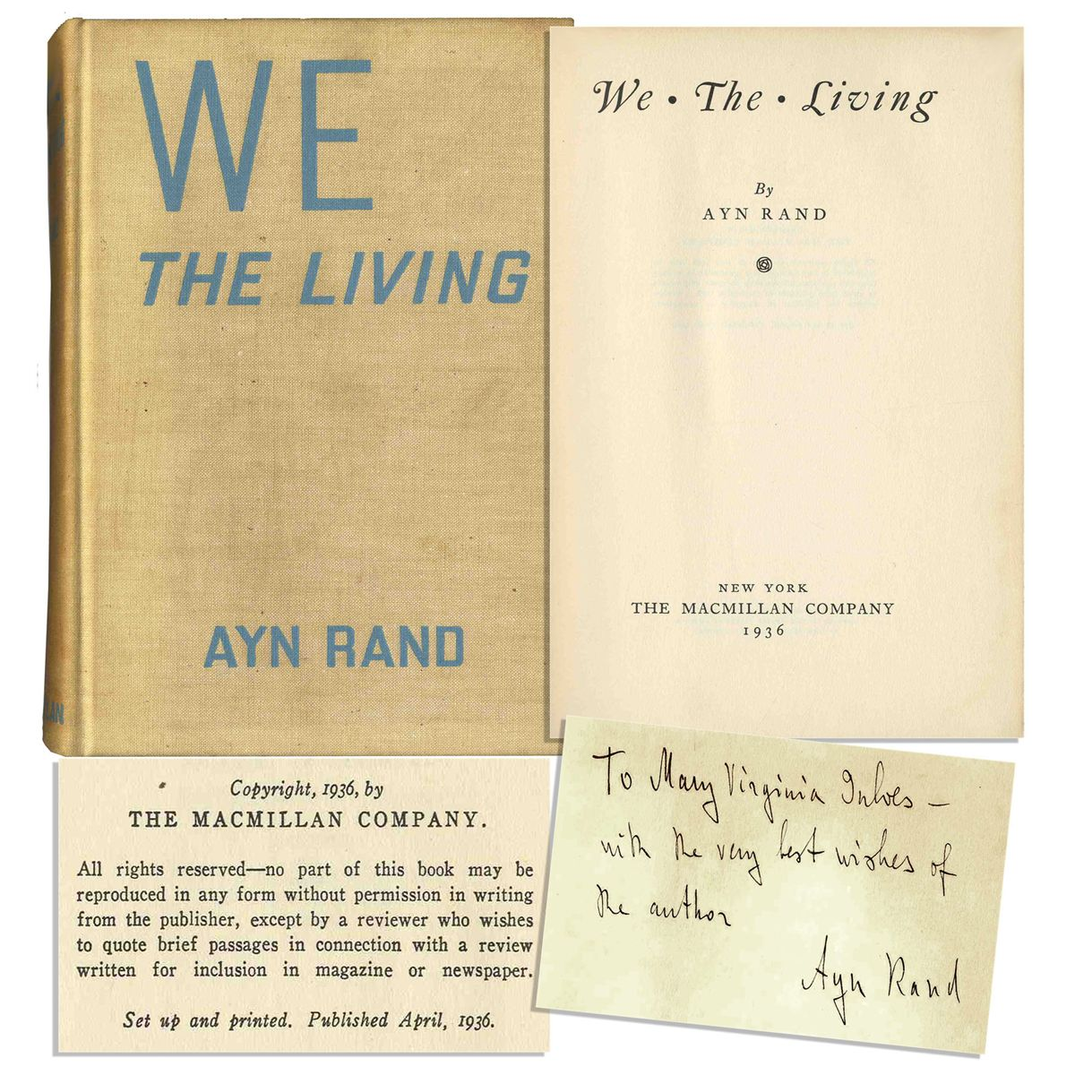 Rare Ayn Rand Signed And Inscribed We The Living First Edition