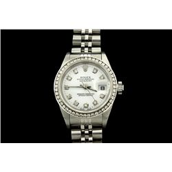 WATCH: [1] Stainless steel Ladies Rolex Oyster Perpetual Date watch with an aftermarket white dial w