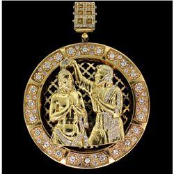 PENDANT: Unisex 10ky religious motif cubic zirconia pendant; image of John the Baptist baptizing Jes