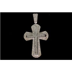 PENDANT: [1] Platinum & 18KWG cross pendant set with 188 round & 68 princess cut dia.s, approx. 12.8
