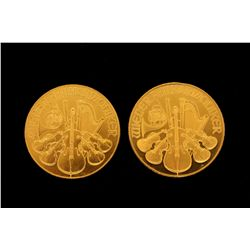 (1) BULLION:: 1992 Austrian Philharmonic 1 oz gold coin, .999 fine  (1) BULLION: 1994 Austrian Philh