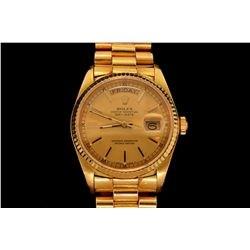 WATCH: [1] 18KYG gents Rolex Oyster Perpetual Day Date President watch with a  gold tone dial, flute