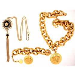 "BRACELET:  [1] Gold plated Versace link chain bracelet with 1 Medusa charm; adjustable 7""s to 9""s NE"