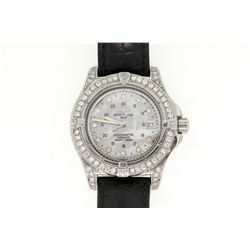 WATCH: Men's st.steel Breitling Aeromarine Colt chronograph wristwatch w/ aftmkt diamond apptmnts; 4