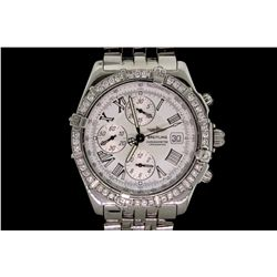 WATCH: Men's st.steel Breitling Windrider Crosswind chronograph wristwatch w/ aftmkt set diamond bez