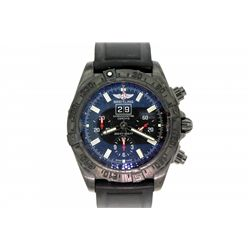 WATCH: Men's black st.steel Breitling WindRider Blackbird Limited Edition chronograph wristwatch; 44