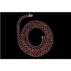 NECKLACE:  [1] 10KWG (stamped and acid tested) necklace set with 5mm rd synthetic red stones; 32 1/2