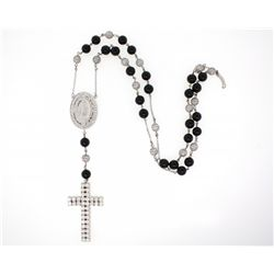 ROSARY: Unisex 14kw diamond & black onyx bead rosary necklace; 25 spherical black onyx beads, 8.37mm