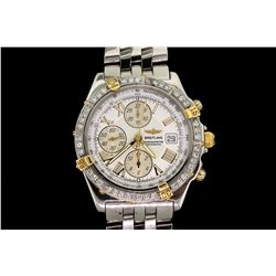 WATCH: Men's st.steel Breitling WindRider Crosswind wristwatch w/ aftmkt diamond set bezel; white di