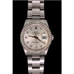 Rolex:  [1] Stainless steel gents Rolex Oyster Perpetual Datejust watch with an oyster bracelet and