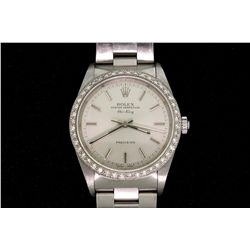 ROLEX: Men's st.steel Rolex O.P. Air-King precision wristwatch w/ aftmkt diamond bezel; 43 rb dias,