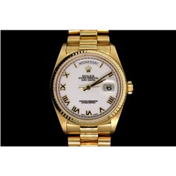 ROLEX: Men's 18ky Rolex O.P. Day Date wristwatch; white dial w/ gold Romans; fluted bezel, syn saph