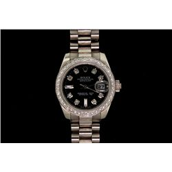 WATCH: [1] 18KWG Rolex Oyster Perpetual Ladies Datejust watch with after market black dial with diam