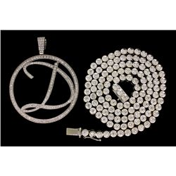 "PENDANT: Men's 14kw open circle script initial ""D"" diamond pendant; 284 rb dias, 1.5mm to 2.1mm = es"
