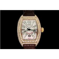WATCH: [1]  18KYG gents Franck Muller SC King Conquistador automatic watch with white guilloche dial