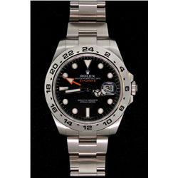 WATCH: [1] Stainless steel gents Rolex Oyster Perpetual Explorer II watch with black dial, 24 hour b
