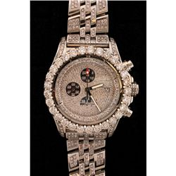 WATCH: Men's st.steel Breitling AeroMarine Super Avenger wristwatch w/ aftmkt diamond apptmnts; beze