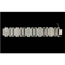 BRACELET: Men's 14kw pave diamond link bracelet; 1193 rb dias, 1.9mm to 2.2mm = est 34.40cttw, Good/