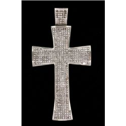 "PENDANT: Men's 12kw ""invisible"" set diamond cross pendant; 445 sq prin dias, approx 1.7mm = est 13.3"