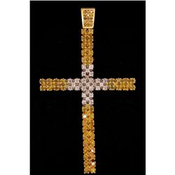 PENDANT: Men's 10kw treated yellow & white diamond cross pendant; 29 rb dias, 2.9mm - 3.4mm = est 3.