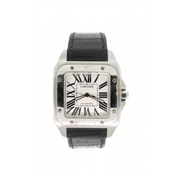 WATCH:  [1] Stainless steel gents Cartier Santos 100 automatic watch with a Cartier black leather ba